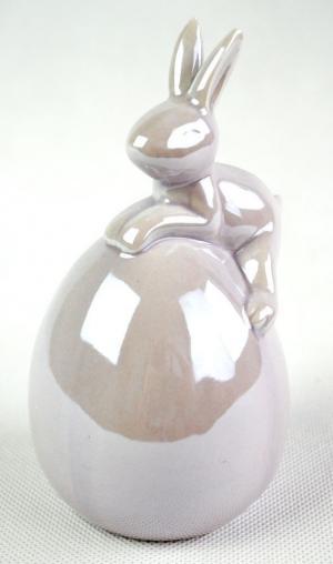 Perleťový fialový veľkonočný zajačik na vajíčku - 8 * 14cm