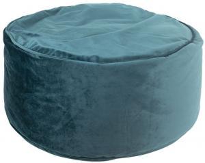 Petrolejový zamatový pouf / sedák na zem - Ø 60 * 30cm