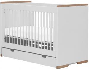 Pinio Detská postieľka Snap - 120 x 60 cm (2 farby) Farba: Biela, Zásuvka: Áno