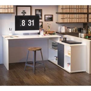 Písací stôl, biela/sivá, DALTON NEW VE 02