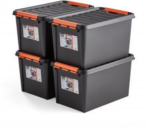 Plastové boxy s vekom Nolad, 50 L, 4 ks, 590x390x345 mm, čierne