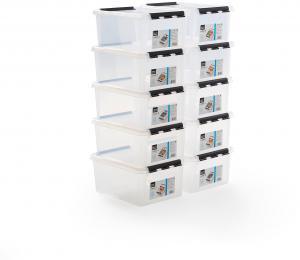 Plastový box s vekom Lee, 14 L, 10 ks, 400x300x190 mm, priehľadný