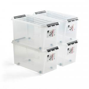 Plastový box s vekom Lee, 70 L, 4 ks, 720x400x380 mm, priehľadný