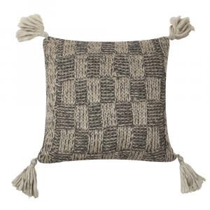 Pletený béžový vankúš so strapcami - 50 * 50cm