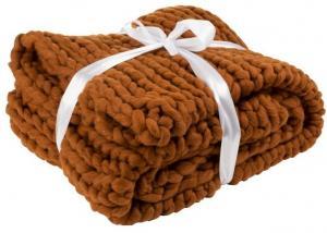 Pletený hnedý pléd Tricot orange brown - 152 * 127 cm