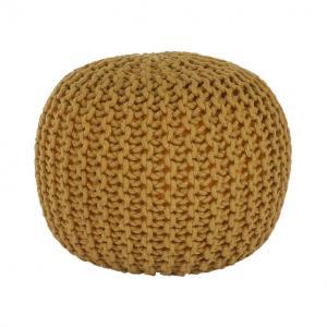 Pletený taburet, horčicová bavlna, GOBI TYP 2