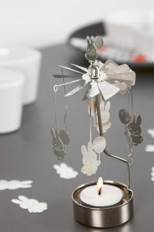 pluto produkter Rotujúci svietnik Silver Miffy