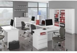 Počítačový stôl A-6 ľavý biely
