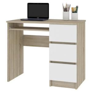 Počítačový stôl A-6 pravý sonoma/ biely