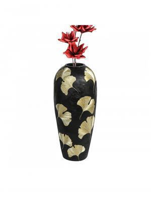 Podlahová váza Ginkgo, 74 cm, čierna/zlatá