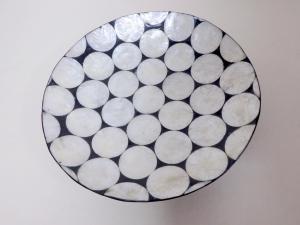 Podnos / Misa DOTS - biela z pravej  perlete