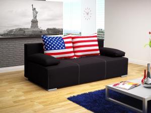 Pohovka trojsedačka Antero (čierna + vlajka USA)