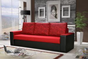 Pohovka trojsedačka - Lavenda (červená + čierna). Akcia -31%.