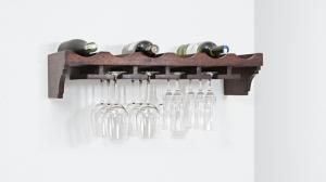 Polica na víno a poháre Kali 70x30x15 indický masív palisander - Natural