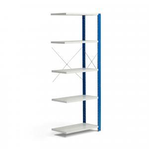 Policový kovový regál Mix, prídavná sekcia, 2100x800x400 mm, modrá, šedá