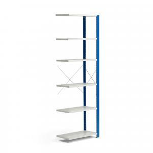 Policový kovový regál Mix, prídavná sekcia, 2500x800x400 mm, modrá, šedá