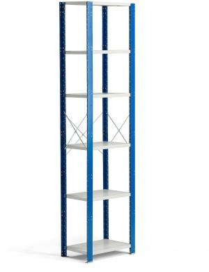 Policový kovový regál Mix, základná sekcia, 2500x600x400 mm, modrá, šedá