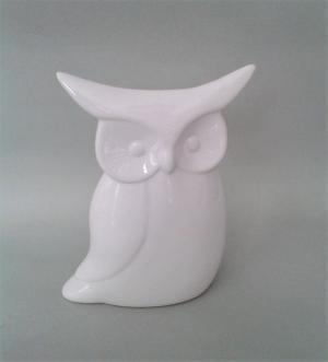 porcelánová sova biela 13 x 18 cm
