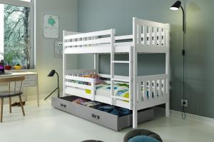 Poschodová posteľ CARINO - 190x80cm - Biela - Grafitová