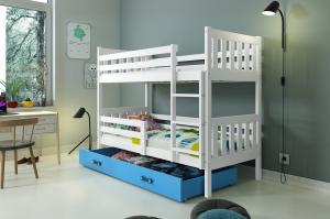 Poschodová posteľ CARINO - 190x80cm - Biela - Modrá