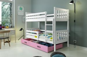 Poschodová posteľ CARINO - 190x80cm - Biela - Ružová