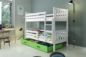 Poschodová posteľ CARINO - 190x80cm - Biela - Zelená