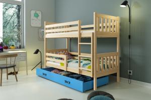 Poschodová posteľ CARINO - 190x80cm - Borovica - Modrá