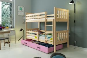 Poschodová posteľ CARINO - 190x80cm - Borovica - Ružová