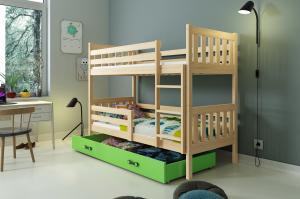 Poschodová posteľ CARINO - 190x80cm - Borovica - Zelená
