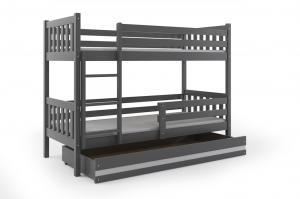 Poschodová posteľ CARINO - 190x80cm - Grafitová - Biela