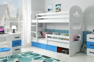 Poschodová posteľ DOMINIK 160x80cm - Biela - posuvné dvierka MODRÁ