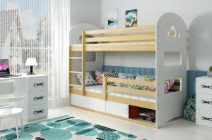 Poschodová posteľ DOMINIK 160x80cm - Borovica - posuvné dvierka BIELA