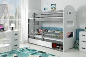 Poschodová posteľ DOMINIK 160x80cm - Grafitová - posuvné dvierka BIELA