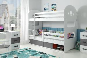 Poschodová posteľ DOMINIK 190x80cm - Biela - posuvné dvierka GRAFIT