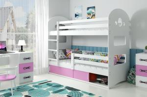 Poschodová posteľ DOMINIK 190x80cm - Biela - posuvné dvierka RUŽOVÁ