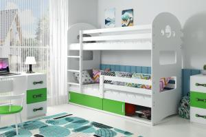 Poschodová posteľ DOMINIK 190x80cm - Biela - posuvné dvierka ZELENÁ