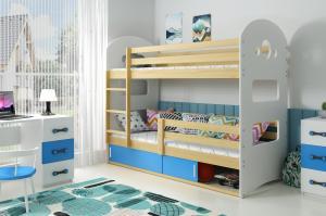 Poschodová posteľ DOMINIK 190x80cm - Borovica - posuvné dvierka MODRÁ