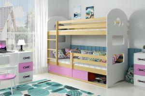 Poschodová posteľ DOMINIK 190x80cm - Borovica - posuvné dvierka RUŽOVÁ