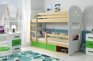Poschodová posteľ DOMINIK 190x80cm - Borovica - posuvné dvierka ZELENÁ