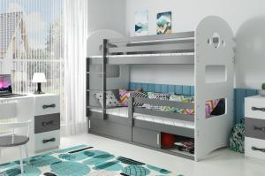 Poschodová posteľ DOMINIK 190x80cm - Grafitová - posuvné dvierka GRAFIT