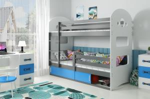 Poschodová posteľ DOMINIK 190x80cm - Grafitová - posuvné dvierka MODRÁ