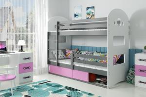 Poschodová posteľ DOMINIK 190x80cm - Grafitová - posuvné dvierka RUŽOVÁ