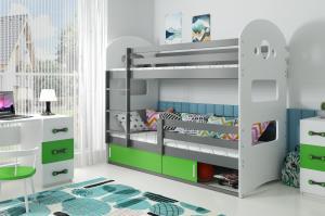 Poschodová posteľ DOMINIK 190x80cm - Grafitová - posuvné dvierka ZELENÁ