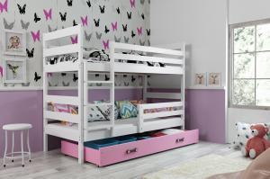 Poschodová posteľ ERIK 2 - 160x80cm - Biela - Ružová