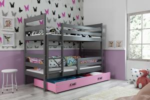 Poschodová posteľ ERIK 2 - 160x80cm - Grafitová - Ružová