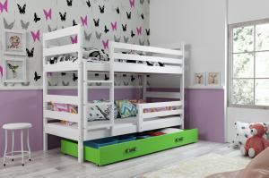 Poschodová posteľ ERIK 2 - 190x80cm - Biela - Zelená