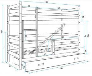 Poschodová posteľ ERIK 2 - 190x80cm - Borovica - Zelená