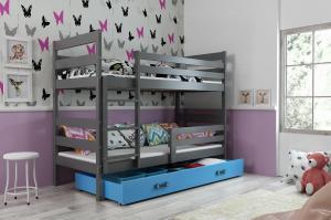 Poschodová posteľ ERIK 2 - 190x80cm - Grafitová - Modrá