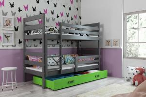 Poschodová posteľ ERIK 2 - 190x80cm - Grafitová - Zelená