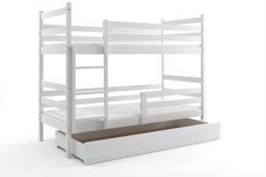 Poschodová posteľ - ERIK 2 - 200x90cm - Biela - Biela